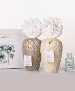 profumatore alto tortora e beige con tappo a forma di sole fragranza e scatola inclusa morena