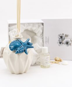 profumatore bianco porcellana con stella marina e conchiglie blu con scatola imbottita morena