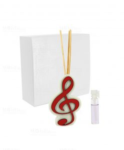 profumatore con chiave di violino rossa e bastoncini e profumino linea dolci cose