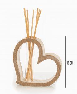profumatore cuore legno grande con bastoncini e fragranza linea mago di oz cuore matto