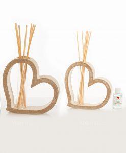profumatore cuore legno grande e piccolo con bastoncini e fragranza linea mago di oz cuore matto