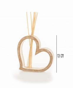 profumatore cuore legno piccolo con bastoncini e fragranza linea mago di oz cuore matto