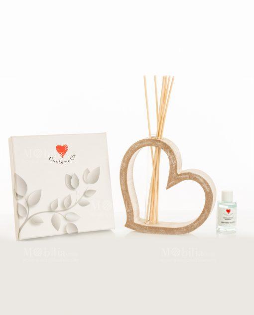 profumatore cuore legno piccolo con scatola bastoncini e fragranza linea mago di oz cuore matto