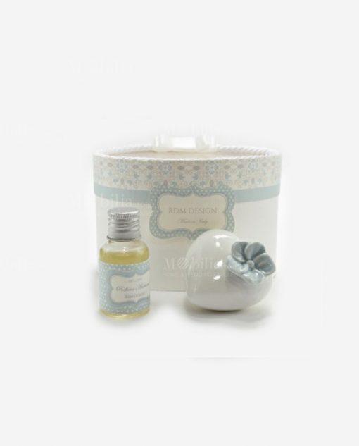 profumatore cuore porcellana piccolo con fiore e fragranza linea love rdm design