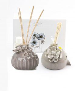 profumatore grigio varie forme con fiori morena