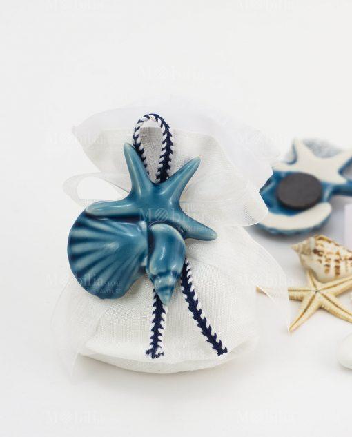 sacchetto confezionato bianco con nastro applicazione calamita magnete tema mare blu