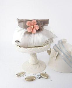 sacchetto portaconfetti borsetta con fiore ceramica rosa linea penelope cherry and peach