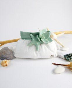 sacchetto portaconfetti borsetta con fiore e stella marina porcellana linea caribe cherry and peach