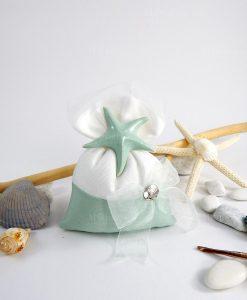 sacchetto posrtaconfetti bianco e tiffany con stella marina e fiocco linea caribe cherry and peach