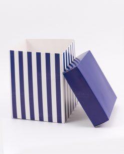 scatola a righe bianca e blu cartoncino spacco