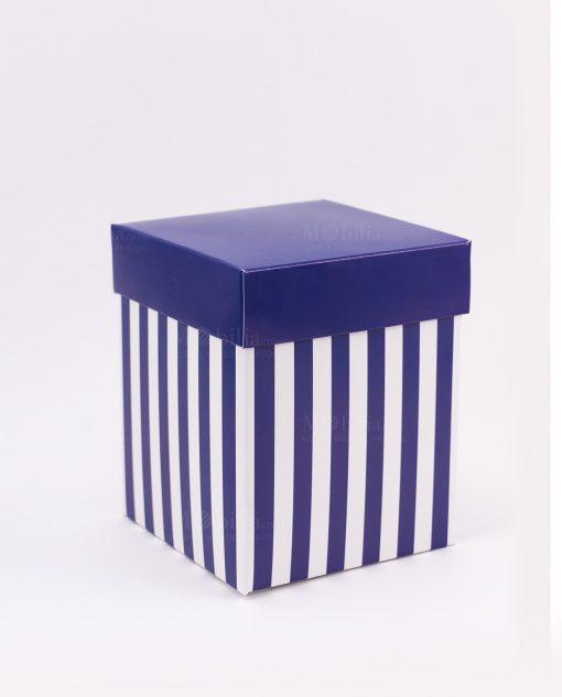 scatola cartoncino a righe bianca e blu h12 cm spacco