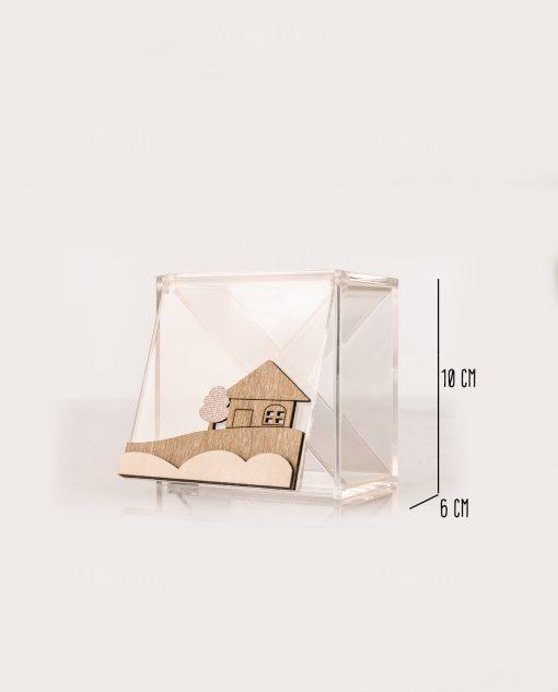 scatola degustazione 4 scomparti trasparente 10x6 con casetta legno linea mago di oz cuore matto