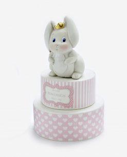 scatola torta portaconfetti rosa con cuoricini sculturina coniglietto con corona linea petit lapin rdm design