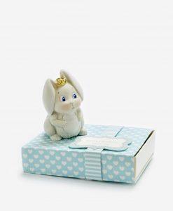 scatolina portaconfetti azzurra con sculturina coniglietto linea petit lapin rdm design