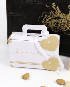 scatolina portaconfetti bianca valigia love is in the air made in italy spacco