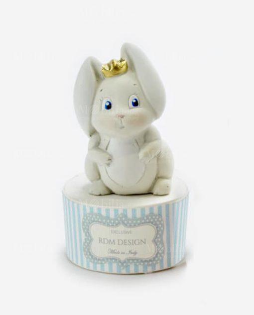 scatolina portaconfetti tonda azzurra con sculturina coniglietto rdm design linea petit lapin