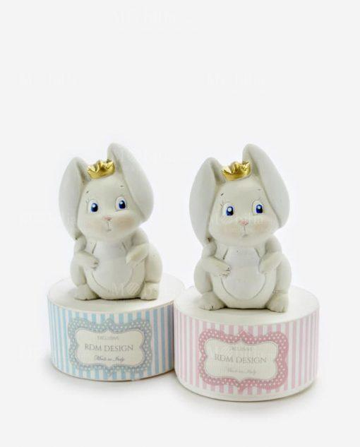 scatolina portaconfetti tonda azzurra e azzurra con sculturina coniglietto rdm design linea petit lapin