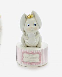 scatolina portaconfetti tonda rosa con sculturina coniglietto rdm design linea petit lapin