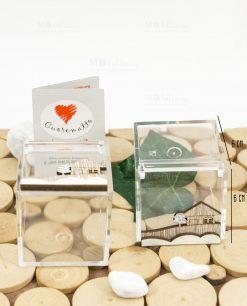 scatolina portaconfetti trasparente 6x6 con casetta legno cuore matto
