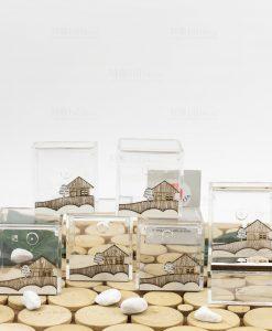 scatolina portaconfetti trasparente pvc varie misure con casetta legno linea mago di oz cuore matto