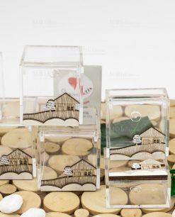 scatolina portaconfetti trasparente varie misure con casetta legno cuore matto