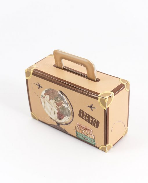 scatolina portaconfetti valigia beaige con mappamondo spacco made in italy