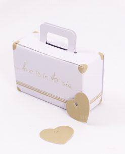 scatolina portaconfetti valigia bianca con cuoricino made in italy spacco