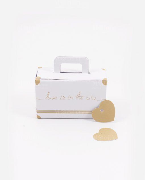 scatolina portaconfetti valigia bianca love is in the air con cuoricino made in italy spacco