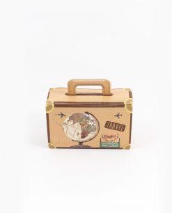 scatolina portaconfetti valigia con mappamondo spacco made in italy