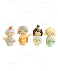 scultura giapponesina con strumenti 4 modelli assortiti