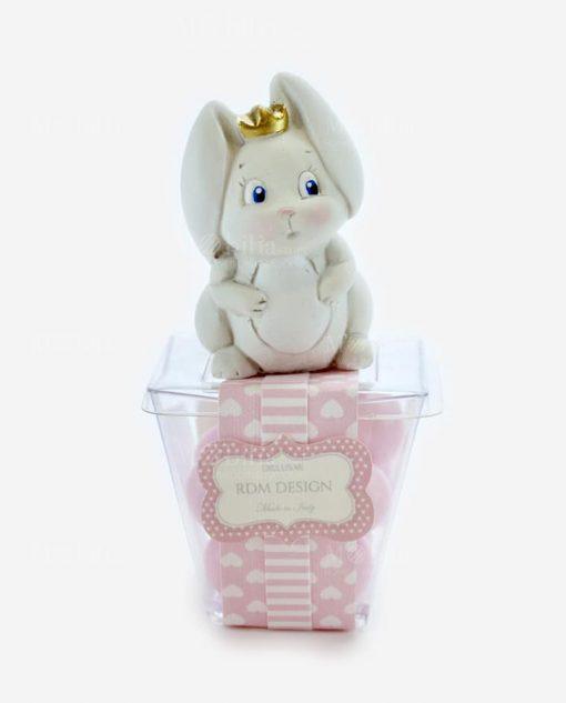 sculturina coniglietto su scatolina diamantino con confetti rosa linea petit lapin rdm design