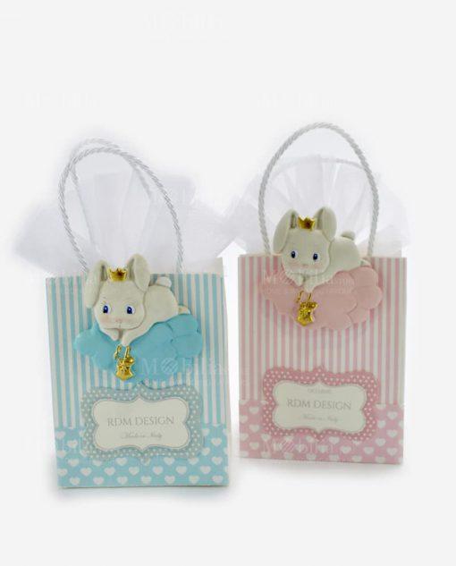 shopper alta portaconfetti rosa e azzurra con applicazione coniglietto du nuvola linea petit lapin rdm design