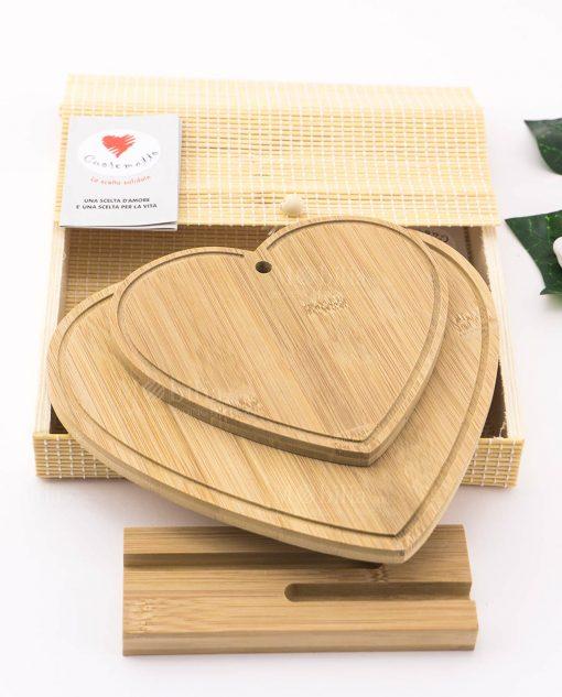 tagliere legno bamboo cuore doppio con base per appoggio con scatola bamboo cuore matto