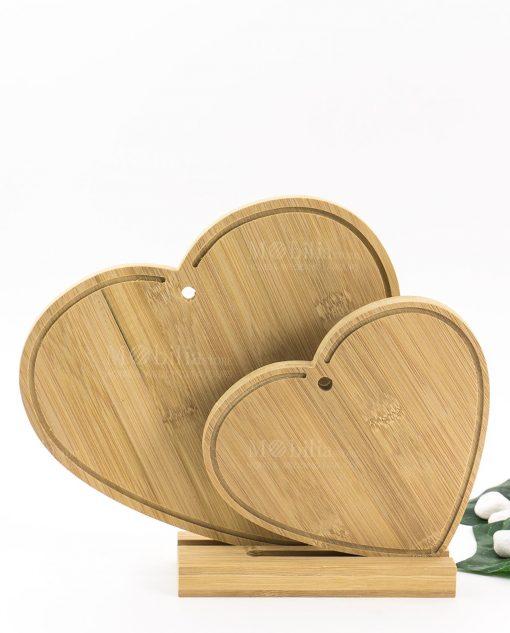 tagliere legno bamboo cuore doppio con base per appoggio cuore matto
