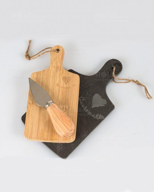tagliere rettangolare due pezzi legno bamboo e ardesia coltellino formaggio cuore matto