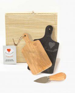 tagliere rettangolare due pezzi legno bamboo e ardesia con coltellino formaggio cuore matto