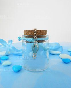 barattolino vetro portaconfetti tappo sughero e pendente mongolfiera azzurra
