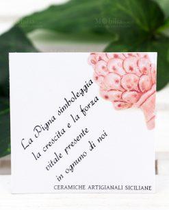 bigliettino ceramiche artigianali siciliane pigna rosa