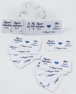 bigliettino cerimonia doppia bianco con cuoricino blu