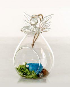 bolla vetro soffiato angioletto con rosa blu cuorematto