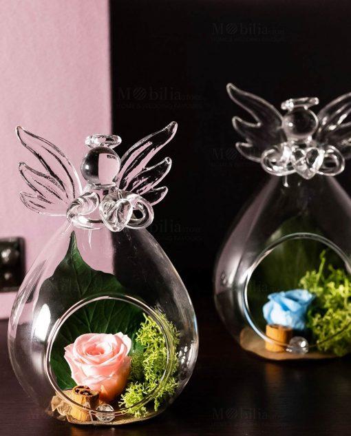 bolla vetro soffiato angioletto con rosa rosa e rosa blu cuorematto