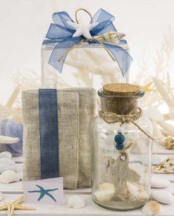 bombonier provetta vetro con pendente stella juta e sacchetto juta con nastro blu e stella marina