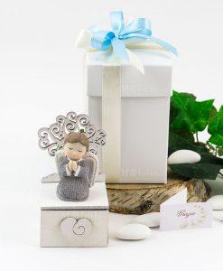 bomboniera angioletto con albero della vita su scatolina portaconfetti con cassetto cuore