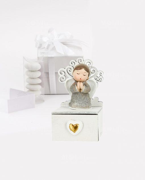 bomboniera angioletto con vestito argento con albero della vita con scatola