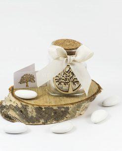 bomboniera barattolino con tappo sughero e ciondolo legno albero della vita