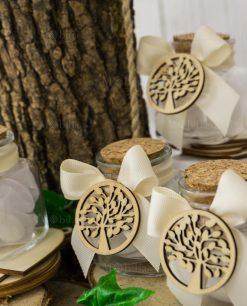 bomboniera barattolino vetro con tappo sughero fiocco e applicazione albero della vita legno