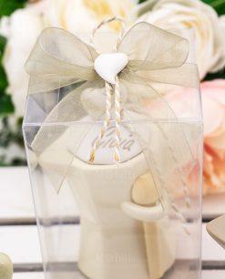 bomboniera barattolo caffettiera dettaglio fiocco con cuore e cordoncino