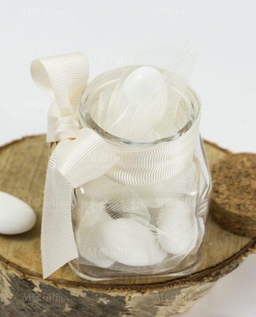 bomboniera barattolo vetro con fiocco bianco rigato tappo sughero e ciondolo legno albero della vita