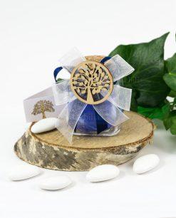 bomboniera barattolo vetro con fiocco doppio bianco e blu applicazione legno albero della vita