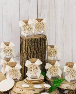 bomboniera barattolo vetro con fiocco e applicazione albero della vita legno